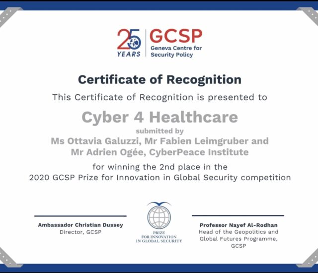Cyber 4 Healthcare Wins 2nd Prize for Innovation in Global Security